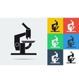 Colored and monochrome microscope icon vector image