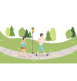 couple running in park man and woman doing vector image vector image