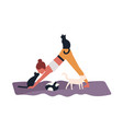 crazy cat lady performing gymnastic exercise or vector image
