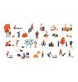 crowd of tiny people gathering crops or seasonal vector image