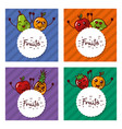 cute set of kawaii fruits cartoon labels vector image