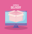 delivery service online with monitor and box vector image