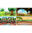 different scenes with people and animals vector image
