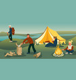 family camping holiday flat vector image