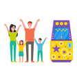 family happy to win game machine children vector image