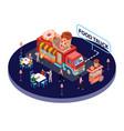 food truck isometric artwork of people eating vector image
