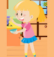 girl holding spoon and bowl vector image vector image