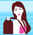 girl on the sea background vector image