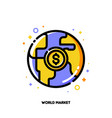 globe and dollar icon for world financial market vector image vector image