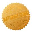 golden naturist zone medallion stamp vector image vector image