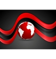 Graphic wavy design with globe vector image vector image