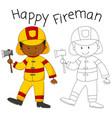 happy fireman with an axe vector image