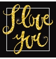 I love you gold glittering lettering design vector image vector image