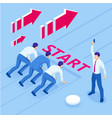 isometric businessmen on a track-ready to run vector image vector image