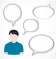 Man and speech bubbles vector image vector image