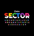 modern colorful style sliced font vector image