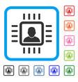 neuro processor framed icon vector image vector image
