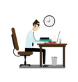 Office man sitting at working desk vector image