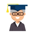 old man graduate character vector image