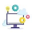 online education computer monitor idea gears vector image