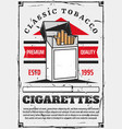 open pack filtered cigarettes tobacco product vector image vector image