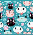 pattern love funny cats vector image vector image