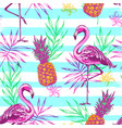 pattern with pink flamingo and pineapples vector image vector image