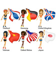 People and flags vector image vector image