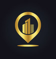 position gps building town gold logo vector image vector image