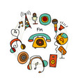 radio set sketch for your design vector image vector image