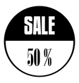 Sale emblem 50 percent off icon simple style vector image vector image