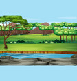 scene with many trees in park vector image vector image