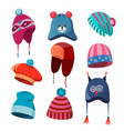 set of autumn winter hats for men women and vector image