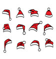 set red santa hats different shapes vector image