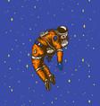 soaring spaceman in space astronaut in solar vector image vector image