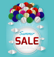 summer sale banner with paper art balloon vector image