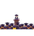 tribune graduation speech students crowd female vector image vector image