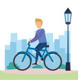 young man on bicycle character vector image vector image