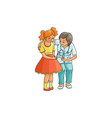 flat female doctor and girl kid scene vector image