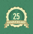 25th anniversary label on a green ornament vector image vector image