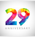 29 anniversary colorful facet logo vector image vector image