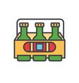 3 beers flat line concept vector image vector image
