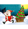 a happy santa pulling sleigh with a christmas vector image vector image