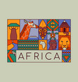 africa continent travel safari wildlife concept vector image vector image
