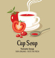 banner for cup tomato soup with text vector image vector image