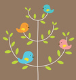 Birds Family On A Tree vector image vector image