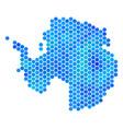 blue hexagon antarctica map vector image vector image