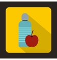 Bottle of water and red apple icon flat style vector image vector image