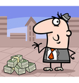 businessman with money cartoon vector image vector image