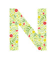 capital letter n green floral alphabet element vector image vector image